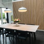 Dining room with acoustical panels from WoodUpp